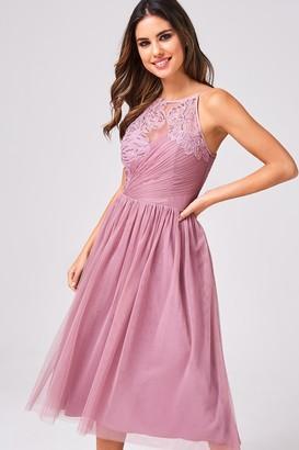 Little Mistress Phoebe Canyon Rose Floral Hand-Embellished Prom Midi Dress