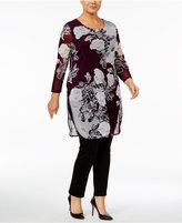 Alfani Plus Size Floral-Print Mesh Tunic, Created for Macy's