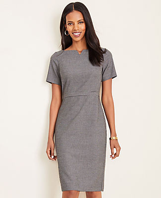 Ann Taylor The Petite Elbow Sleeve Dress in Dobby