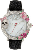 Betsey Johnson Women's Black Textured Leather Strap Watch 44mm BJ00595-02