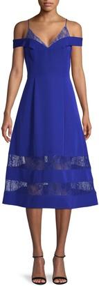 Aidan Mattox Crepe & Lace Midi Dress