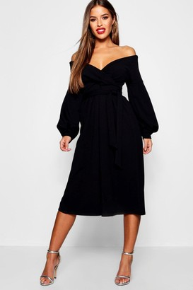 boohoo Petite Off The Shoulder Wrap Culotte Jumpsuit