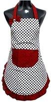 Hyzrz Lovely Lady Dot Flirty Canvas Funny Apron Restaurant Kitchen Aprons for Women Girls with Pocket (Black)