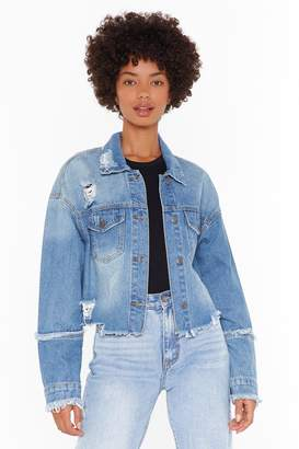 Nasty Gal Womens Lookin' For Trouble Distressed Denim Jacket - Blue - 6