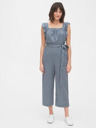 Gap Ruffle Sleeve Jumpsuit in Linen-Cotton