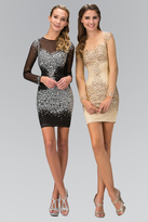 Elizabeth K - Sequined Illusion Jewel Neck Bodycon Dress GS2134