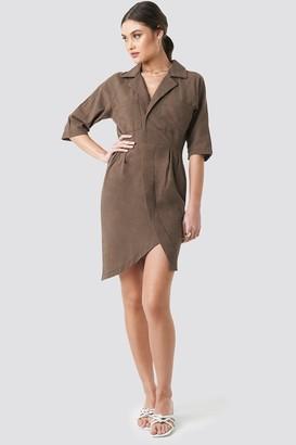 NA-KD Linen Look Raglan Sleeve Shirt Dress Brown