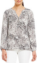 Investments Long Sleeve Shirred Neck Blouse