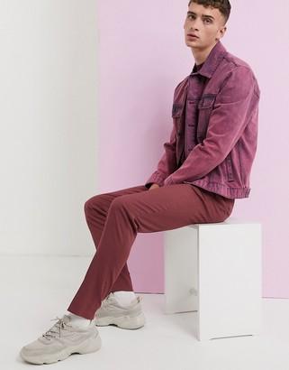 Asos Design DESIGN skinny smart trousers in dusty berry-Purple