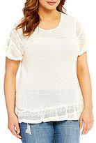 Blu Pepper Plus Short Sleeve Lace Trim Knit Top