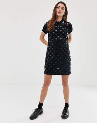 Fred Perry x Amy Winehouse heart pique dress-Black