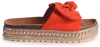 Linzi RARE - Orange Suede Slip On Slider With Bow Detail and Beaded Trim