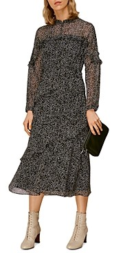Whistles Sketched Floral Frill Dress
