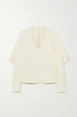 Victoria Beckham Embellished Draped Cady Blouse - Cream