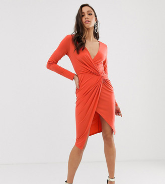 Flounce London Tall wrap front mini dress in rust-Brown
