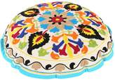Cultural Round White Ottoman Cotton Floral Embroidered Pouf Cover Decor By Rajrang