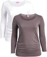 Penelope's Closet Women's Tee Shirts PEWTER-WHITE - Pewter & White Long-Sleeve Scoop Neck Top - Plus