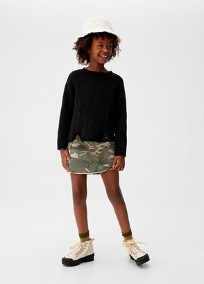 MANGO Cargo camo-print mini skirt khaki - 6 - Kids