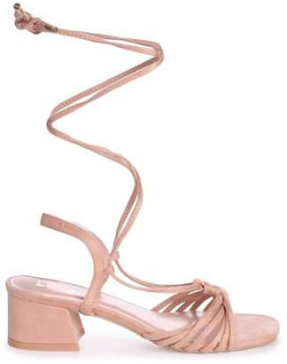 Linzi CROSS MY HEART - Nude Suede Lace Up Block Heeled Sandal With Multiple Front Straps