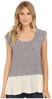 B Collection by Bobeau Oriana Stripe Mix Media T-Shirt