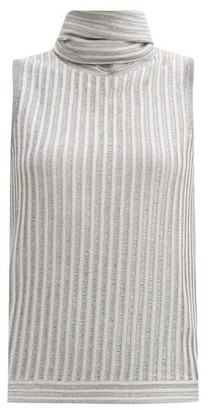 Missoni Tie-neck Metallic-knit Top - Silver