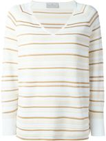 Maison Ullens - striped v-neck sweater - women - Cotton/Polyamide/Polyester/Viscose - XS