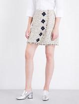 Mary Katrantzou Floral-embellished woven tweed mini skirt
