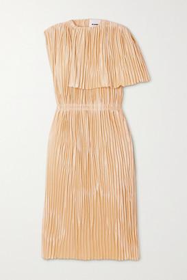 Jil Sander Cape-effect Pleated Satin Midi Dress - Cream