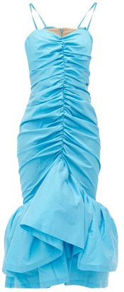 ATTICO Ruched Ruffled-hem Satin-taffeta Midi Dress - Blue