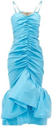 ATTICO The Ruched Ruffled-hem Satin-taffeta Midi Dress - Womens - Blue