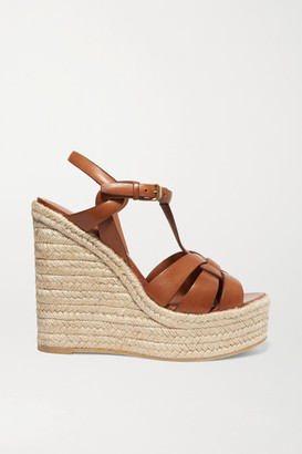 Saint Laurent Tribute Woven Leather Espadrille Wedge Sandals - Tan