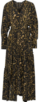Stella McCartney Julissa Belted Printed Silk Crepe De Chine Maxi Dress