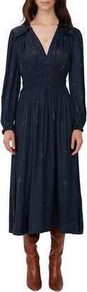 Maje Long Sleeve Embellished Maxi Dress