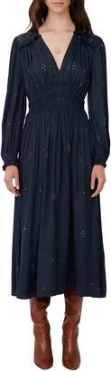 Maje Long Sleeve Embellished Maxi Dress