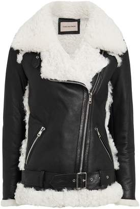 Yves Salomon Shearling-Trimmed Moto Jacket