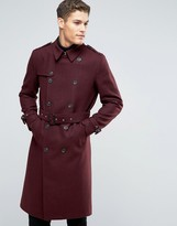 Asos Wool Mix Belted Double Breasted Overcoat in Burgundy