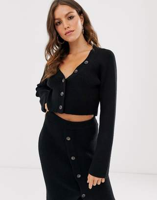 Fashion Union button front cropped cardigan co-ord-Black