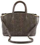 Brian Atwood Gloria East/West Snakeskin Tote Bag, Dark Gray