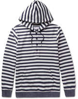 Orlebar Brown Tierney Striped Loopback Cotton-jersey Hoodie - Navy
