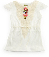 Little Mass Embroidered Ribbon-Tie Top, 4-6x