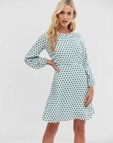 Closet London Closet long sleeve polka dot skater dress