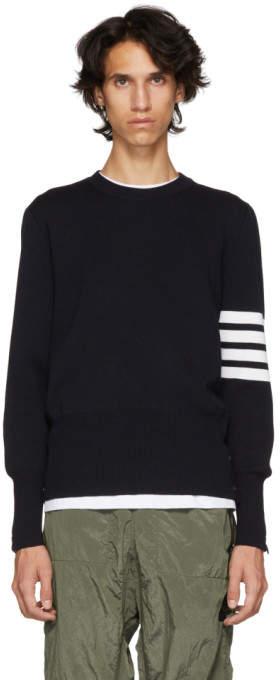 Thom Browne Navy Milano Stitch Four Bar Crewneck Sweater