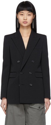 Saint Laurent Black Wool Double-Breasted Grosgrain Blazer