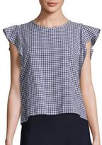 SET Cotton Gingham Ruffle Blouse