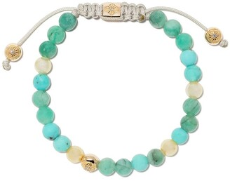 Shamballa Jewels 18kt yellow gold, turquoise and pearl non-braided beaded bracelet