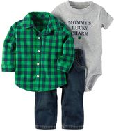 "Carter's Baby Boy Lucky Charm"" Bodysuit, Buffalo Plaid Shirt & Jeans Set"