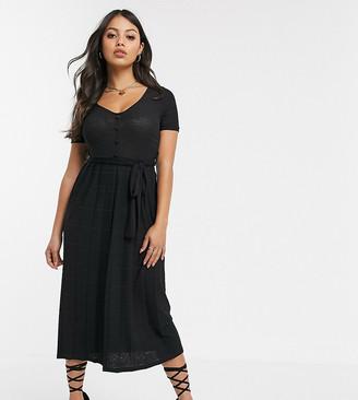 ASOS DESIGN Petite textured v-neck midi dress with pleated skirt