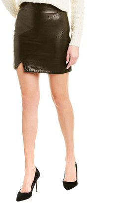 Mason by Michelle Mason Asymmetrical Leather Mini Skirt