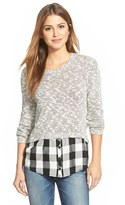 Kensie Women's Layered Look Slub Knit Sweater