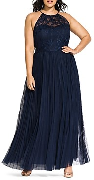 City Chic Plus Angelic Pleated Maxi Skirt